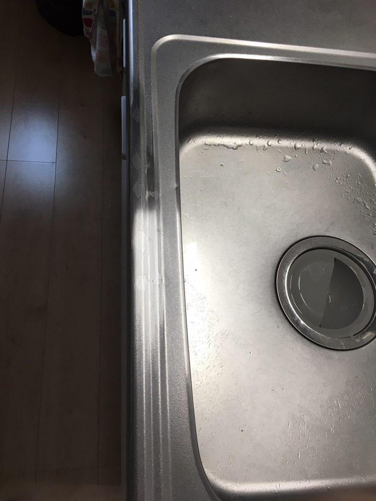 エンボスステンレスキッチン凹みの修理