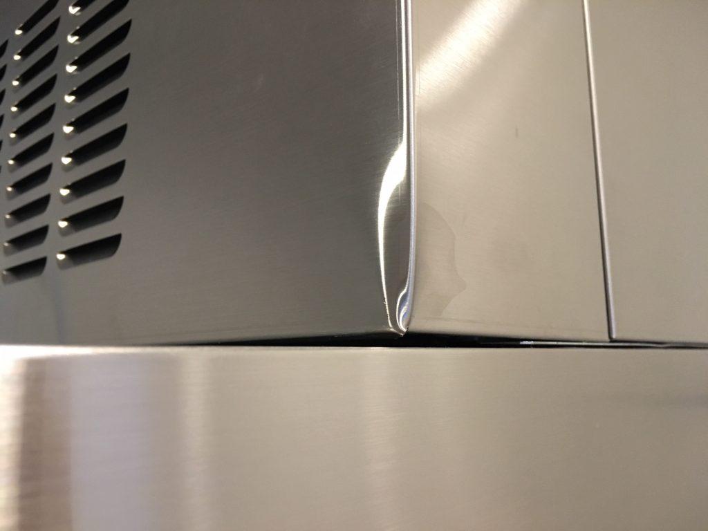 レンジフード幕板の角潰れ補修