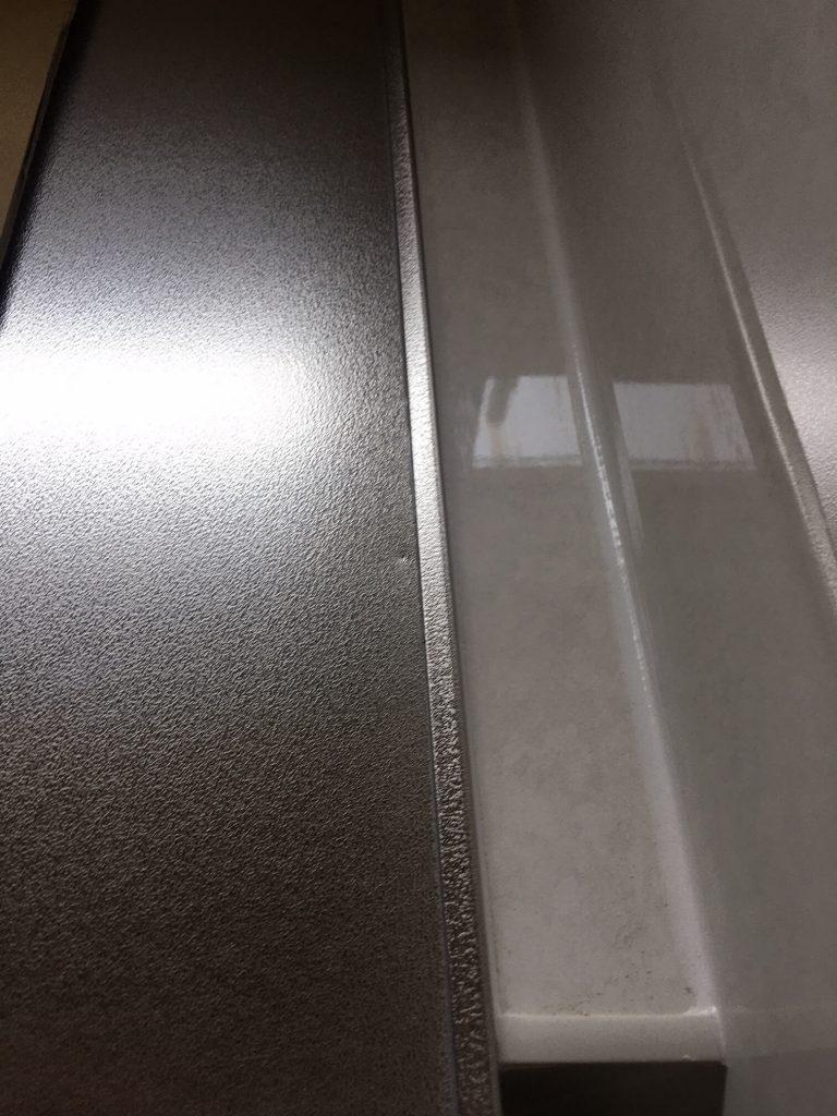 エンボス調ステンレス天板凹み補修